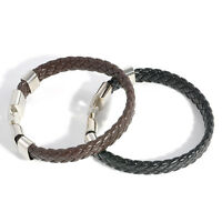 Men Women Magnetic Wristband Fashion Leather Wrap Cuff Clasp Bracelet Bangle