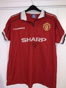 "Manchester Utd Shirt 1998-99 Adults 44"" Chest Umbro Signed Steve Coppell"