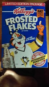EMPTY 1992 Kelloggs Frosted Flakes Pittsburgh Penguins Box VG-EX
