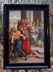 antikes Ölgemälde Festnahme Jesu Monogramm C.v. 1887 excellente Künstlerarbeit