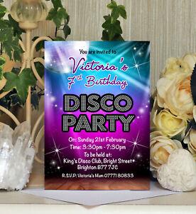 Personalised Disco Party Birthday Invitations Invites Kids Childrens