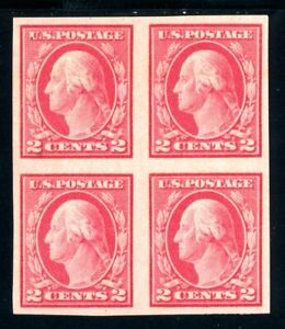 USAstamps Unused XF US 1916 Washington Imperforate Block Scott 482 OG MNH, MVLH