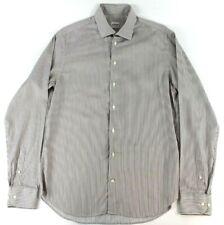 ARMANI COLLEZIONI Mens 15.5 39 White Vertical Stripes Collared Long Sleeve Shirt
