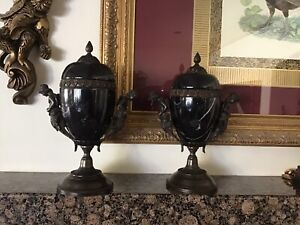 Pair of Maitland Smith Mantle Marble and Bronze Urns.