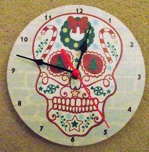 """CHRISTMAS SUGAR SKULL  7"""" wall clock. upcycled"""