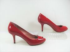 Vince Camuto Women Red Leather Open Toe Heels Shoe Size 10B EUR 40 Pre Owned