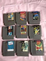 Lot Of 9 Original Nintendo NES Cartridges Mario Bros Duck Hunt and More