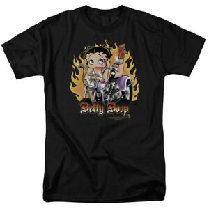 Betty Boop Biker Flames Boop T Shirt Mens Licensed Cartoon Merchandise Black
