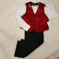 Nautica Kids Boys Suit 3 Pc Tuxedo Formal School Graduation Sz 5 Red A2