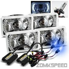 2 Sets 4x6 Crystal Semi-Seal White LED Projector Headlights/10000K H4-2 HID Kit