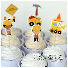 12x Construction Tools Cupcake Topper Pick. Digger Sign Lolly Loot Bag Party