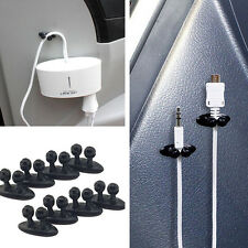 8Pcs Car Charger Line Headphone/USB Cable black Car Clip Interior Accessories