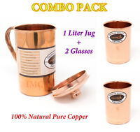 Copper Man 100% Natural Copper Water Jug Storage with Lid & 2 Glasses Tumblers