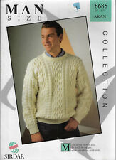 Men's Cable Aran Sweater Sirdar 8685 knitting pattern 10 ply yarn winter