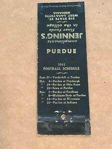 1941 Purdue University Football schedule West Lafayette IN Advertising Matchbook