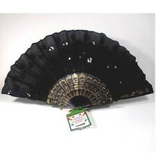"Deluxe foldable fan black fabric black sequins 9"" ᵃ k2"