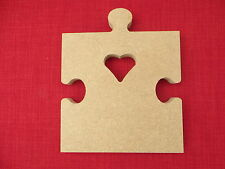 Jigsaw puzzle piece with heart large free standing wooden MDF craft shape 18mm