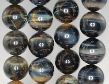 18MM BLUE TIGER EYE GEMSTONE GRADE A BLUE HAWK EYE ROUND LOOSE BEADS 7""