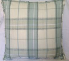 Set Of 2 Piped Cushion Cover In Laura Ashley Highland Check Duck Egg / Pistachio