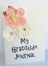 "Journal or Diary,  5x7"" Gratitude Journal 48 blank pages with beige & coral"