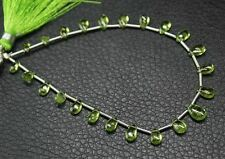 "Natural Peridot Smooth Briolette Pear Drop Loose Gemstone Bead Strand 7"" 5mm 8mm"