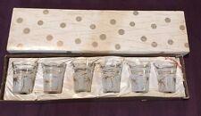 Six Vintage Varzesa Shot Glass Gold Frosted Starburst Atomic Palm Retro New Box