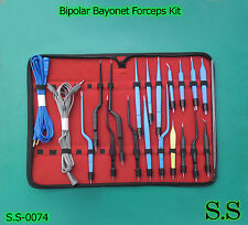 High Class Bipolar Bayonet Forceps Electrosurgical Instruments Set S.S-0074