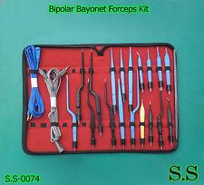 High Class Bipolar Bayonet Forceps Electrosurgical Instruments Set Ss 0074