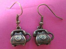 Tono De Bronce 3D Aspecto Retro Vintage teléfono encanto pendientes Nueva Kitsch