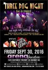 "Three Dog Night / The Guess Who ""Live In Concert"" 2016 Houston Tour Poster"