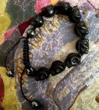 Shamballa BLACK SKULL HEMATITE Beaded Bracelet  Adjustable Punk Goth