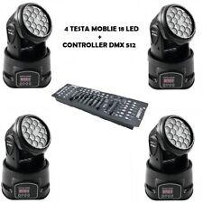 NUM 4 PROIETTORE LED RGB TESTA ROTANTE MOBILE  EFFETTI DISCO 18 LED 3W LED + DMX