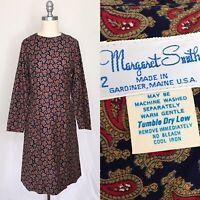 Vintage 60s Margaret Smith Paisley Dress Size Medium