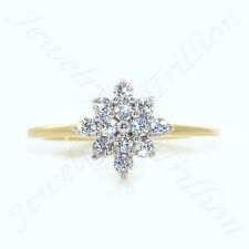 Round Cut Sim.Diamond Solid 14K Yellow Gold Fn Cluster Engagement Wedding Ring