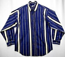 Basic Editions Men's Shirt L L/S Button Down Blue/Yellow/White Striped
