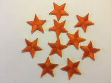 """Iron On Orange Star Embroidered Appliques 1 3/8"""" (35mm)  10 pieces per package"""