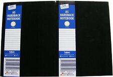 2 X Negro A5 libro de tapa dura Notebook Note Pad-gobernado 50 Hojas - 70 GSM