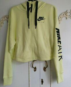 Nike Air Ladies Yellow Full-Zip Cropped Hoodie  Size Small BNWT CN6930