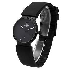 OBAKU HARMONY LADIES QUARTZ WATCH NEW BLACK IP BLACK DIAL V118LBBXB RUBBER STRAP
