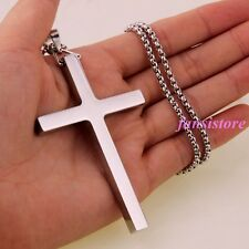 New Fashion Jewelry Stainless Steel Silver Big Cross Men Women Pendant Necklace