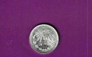 1944 MEXICO UN PESO .720 BRILLIANT UNCIRCULATED SILVER COIN