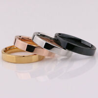 3mm Silver/Gold/Rose Gold/Black Band Women Men's Titanium Steel Engagement Ring