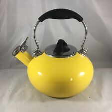Chantal Yellow Enamel on Steel Retro Whistling Tea Pot Kettle