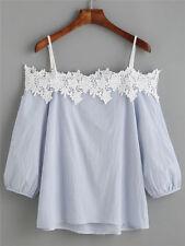 Damen Tunika Bluse T-shirt Carmen 3/4 Langarmshirt Schulterfrei Oberteil Tops