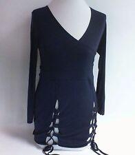 Parisian Strappy Lace Up Choker Bodysuit- Navy  - Size: UK 8 #9R641