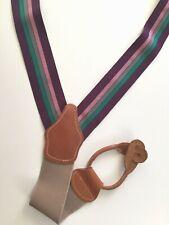 DOONEY BOURKE Braces SUSPENDERS BRASS TAN LEATHER Purple Green Gray Pink Striped