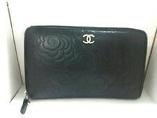 Auth CHANEL Camellia Black Leather Other Style Wallets