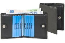 Rimbaldi® kleine Geldbörse mit Außen-Hartgeldfach in Schwarz aus feinem Leder