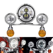 """7"""" LED Headlight 4.5"""" Passing Lights for Harley Road King Street Glide Chrome"""