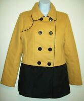 Steve Madden Womens Peacoat Size S Black Yellow Color Block Double Breasted Coat